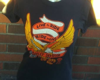 Vintage 1980's official HARLEY-DAVIDSON t-shirt with front and back printing size Small