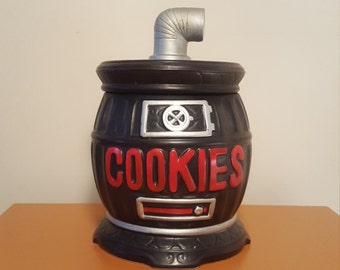 Vintage Pot Belly Stove Cookie Jar Ceramic Cookie Jar Black and Red Cookie Jar Kitchen Storage Vintage Kitchen Decor Kitschy Home Decor