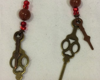 Goldstone and Copper and Brass Clock Hand Charm Earrings