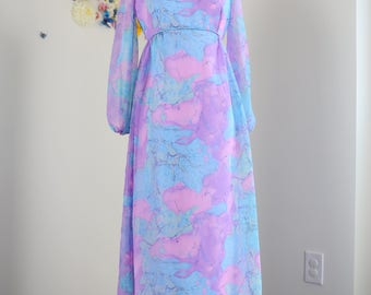 Vintage 1970s Boho Patterned Pastel Maxi Dress Sheer Long Sleeves Empire Waist Purple Blue Size Small Medium