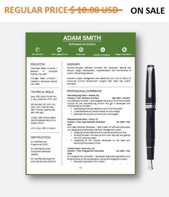 80% OFF SALE  Resume Template | CV Template with add-on for extra pages, Cover and Reference Letters in Word format | Digital Download
