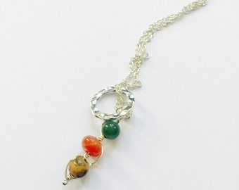 Peas in a Pod Silver Chain Necklace with Gemstone Pendants