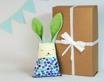 """Bunny Rabbit, Baby , Baby Gift , Baby Shower , New Born , Cuddle Toy , Bunny Softie 8"""" , Baby Soft toy , Eco-friendly Toddler toy"""
