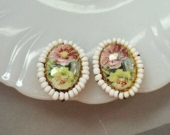 Signed Miriam Haskell Earrings White Glass Beads Painted Flowers Cameo