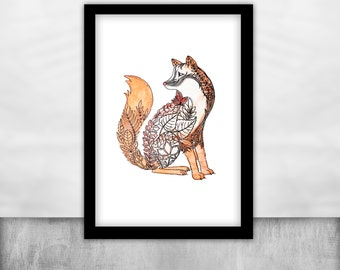 fox poster animal Watercolor Art Print Fox Painting Orange wall art fox illustration print forest creatures