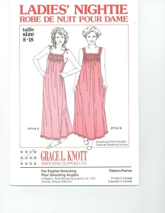 Ladies Nightie pattern, Grace L. Knott,  Summer Top., smocked or gathered, vintage nightgown