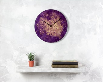 Big purple clock, gold wall clock, office clock, unique clock, modern clock, anniversary gift, gift for her, unique gift, painting clock
