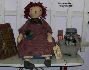 Primitive Raggedy Ann doll handmade homespun with Kitty Cat