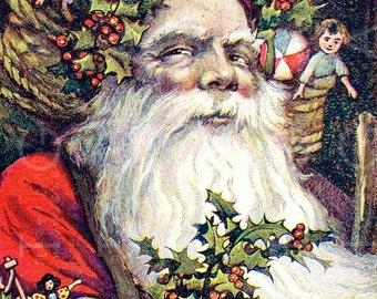 LOVELY Old Fashioned SANTA Claus. Rare Vintage CHRISTMAS Postcard. French Santa Illustration. Digital Christmas Download.
