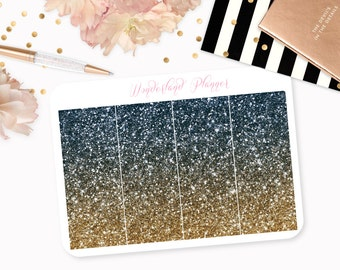 Ombre Glitter Header Planner Stickers - Navy Blue & Gold // Perfect for Erin Condren Vertical Life Planner