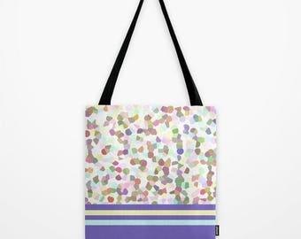 Tote Bag, Lots of Dots Blue, Market Bag, Polka Dots, Pastel Bag, Colorful, Summer Reusable Bag, College Bag, Kids Bag, Modern Shoulder Bag