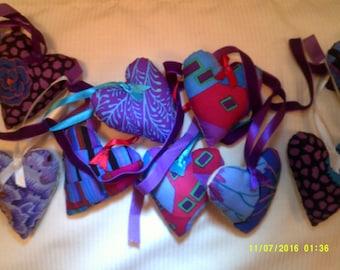 XValentine Garland,Blue and purple Kaffe Fasset fabric hearts with jewel tone satin ribbons