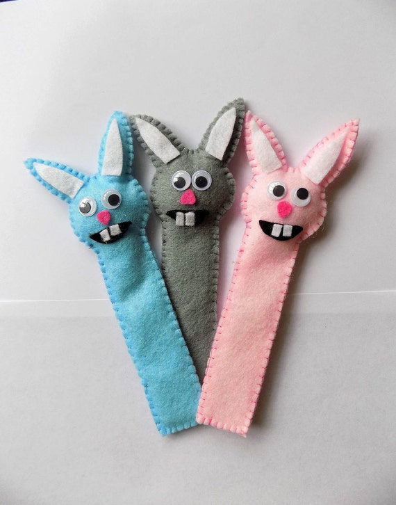 Bunny Rabbit Bookmark, cute, felt, Easter gift for kids, available in any colour