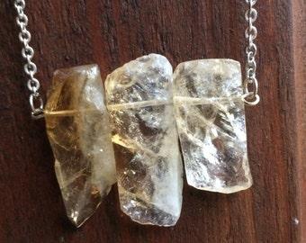 Raw Citrine Necklace, Citrine Stick Necklace, Raw Crystal Jewelry, Gemstone Necklace