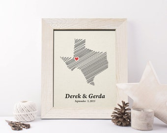 2nd Anniversary Gift State Map Print,  Cotton Anniversary Gift, 2nd wedding anniversary gift, 2 year together gift - CT0150
