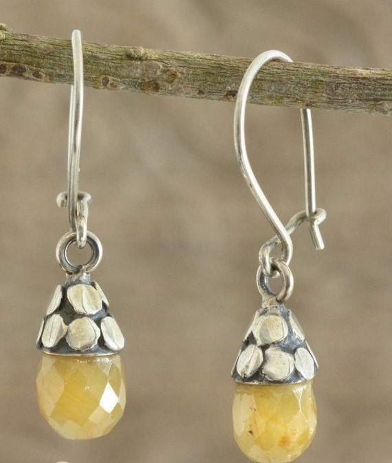 Beautiful sterling silver handcrafted genuine natural agate  dropper earrings