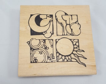 Stamp Oasis Celestial Quadrant Rubber Stamp- Sun Moon Stars & Winds- Large 4x4 Big Stamp- Crescent Moon- Heavenly Bodies Sky- Discontinued