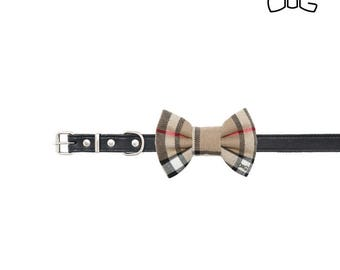 """Beige checked dog bow tie - 30% of sales donated to dog shelters """"dog bow tie"""" symbol for animal support"""