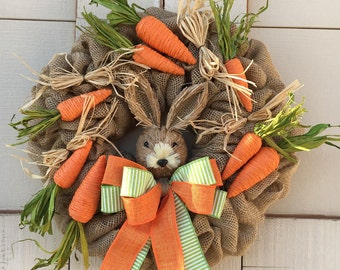 Easter wreath,Easter Bunny wreath,Burlap Easter wreath,Bunny and carrot wreath decor,Natural Easter wreath,Spring wreath,Garden wreathEaster