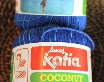 Lamas Katia Coconut yarn, Vintage yarn, Made in Spain, Blue acrylic yarn, Knitting yarn, 2 skein, Acrylic and nylon yarn, Blue Katia yarn