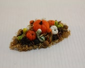Dollhouse Miniature Handmade Fall Bounty Centerpiece with Pumpkins and Squash (1/12 & 1/24 Scales)
