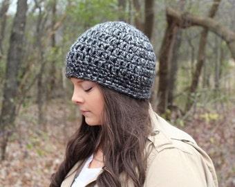 Black Beanie, Black Hat, Crochet Hat, Black Crochet Beanie, Black Winter Hat, Black and White Hat,Knit Beanie, Black Women's Hat, THE SENECA