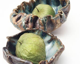 Set of 2 Crude Rustic Bowls,  Textured Pottery Condiment pots. Magical Glazed Pottery, Weird Scruncy Bowls, Altar Bowls, Alter