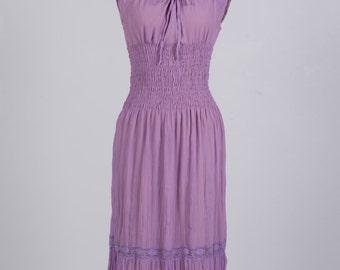 Vintage 70s lilac chiffon peasant dress - 1970s ruffled prairie dress - Seventies folk shirred waist midi dress
