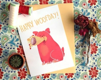 Cute Birthday Card A6 / Dog Greeting Card / Funny Birthday card / Dog flowers card