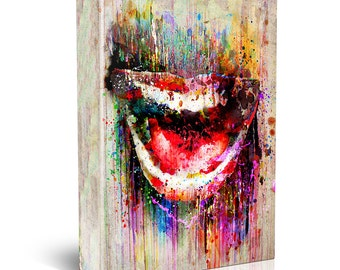 Smile Painting, Mouth Canvas Print, Lips Wall Art