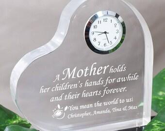Personalized Mother Keepsake Clock - Mom Throw Pillow - Wife Throw Pillow - Love Throw Pillow - Red Rose Throw Pillow -