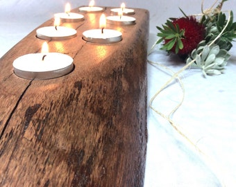 Tealight candles Centrepiece Candles wooden Candle holder Long 7 tealights Rustic Natural Wood Live Edge Australian