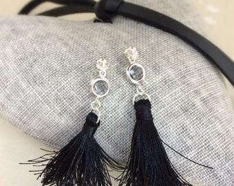 Tassel earrings, dangle earrings, black tassel, silk thread tassel,