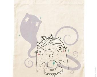 Organic cotton Tote Bag * Irma Ouija * / groceries / psychic / cat / ghost / Medium / green / vacation / Beach