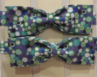 Blue and Green Bubbles Bow Tie