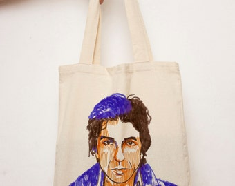 Leonard Cohen Vegan shoulder bag, beach tote, Tote bag, Music lovers shopping Bag, canvas tote Market bag, Music Fashion, Leonard Cohen