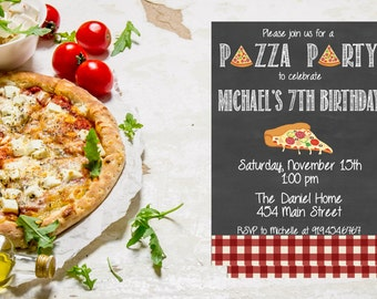 Pizza Party Invitation,  Pizza Birthday Party Invite,  Pizza Invitation,  Pizza Birthday,  Birthday Invite,  Kids Pizza Party
