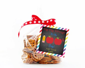 100 days of school Tags,  100 days of school Treat Tags,  Printable Gift Tag,  Kids Tags for school, 100th day of school Tag