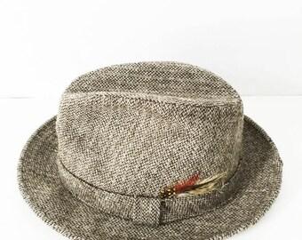 Brown fedora hat - Wool fedora with feathers - Hipster fedora - Hipster hat - Brown tweed fedora - London Fog trilby - London Fog tweed hat