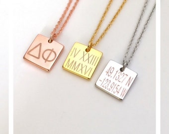 Personalized couples necklace, square necklace, initial monogram necklace, bridesmaid necklace gift, mom grandma necklace gift, gift for her