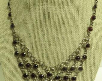 "Vintage Hand Made & Cut Sterling Silver Chain Link Natural Almandine Garnet Cabochon Bib 16.5"" Necklace."