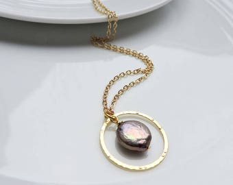 Coin Pearl and Gold Ring Necklace - Silver Grey Coin Pearl with Textured Gold Ring, Peacock grey, Bridal, Wedding, Boho