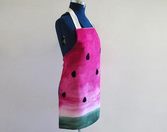 Bib Apron -  Hand Dyed Watermelon