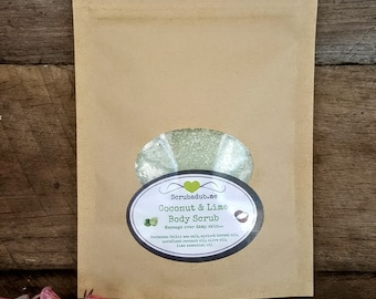 COCONUT and LIME Salt Scrub, lightweight, skin nourishing, natural ingredients, coconut oil, uplifting, smooth skin