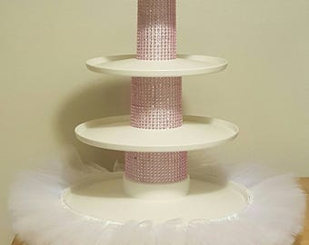 TUTU CUPCAKE TIER pink cake stand princess party decoration wedding birthday baby shower bridal sweet 16 quinceanera dessert tower first 1st