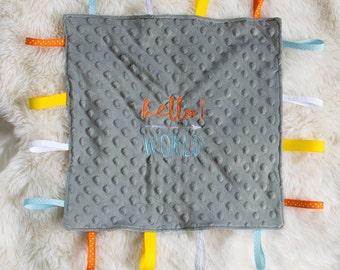 Handmade Sensory Lovey Blanket - Baby tag blanket - Baby arrived gift - Baby shower Gift