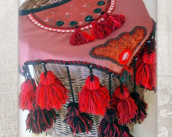 ATS Tribal belly dance Hip scarf, Hip Shawl, Hip Wrap with tassels