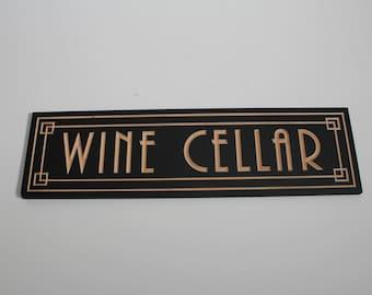 Art Deco Wine Cellar Sign | Carved | Wine Storage