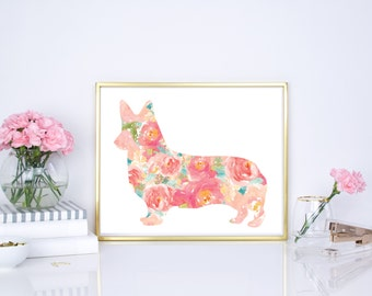 Corgi watercolor print, nursery wall decor, corgi pet portrait, corgi puppy, corgi floral print, floral watercolor corgi 8x10 print, 16x20