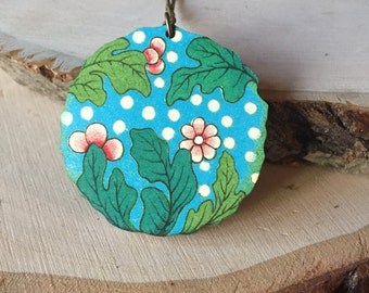 Polka dots and flowers vintage floral motif, necklace, gift for her
